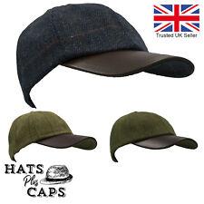 British Derby Tweed Baseball Cap Leather Peak Teflon Water Repellent Fishing Hat