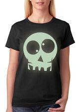 Womens Ladies HALLOWEEN Glow-in-the-Dark Skull T-shirt NEW S-XXL