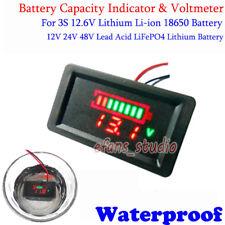 Waterproof Lead Acid LiFePO4 Lithium Li-ion Battery Capacity Indicator Voltmeter