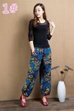 Women Linen Cotton Ethnic Bloomers Wide Leg Pants Japanese Floral Palazzo Dance