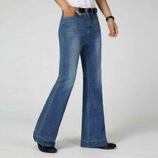 Mens Bell Bottom Jeans Flared Denim Pants 60s 70s Vintage Wide Leg Trousers