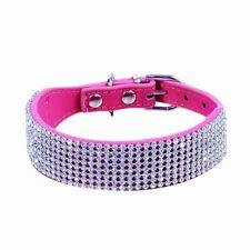 Bling Rhinestone Crystal Diamond Leather Collar Cat Dog Puppy Pet Collar