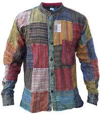 Patchwork Striped Grandad Hippie Cotton Light Summer Festival Casual Shirt Kurta