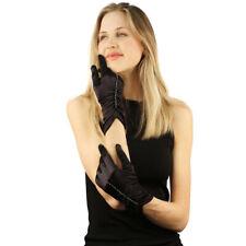 Fancy Satin Finish Scrunched Rhinestone Stretchy Long Wrist Dressy Gloves