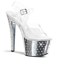 "Pleaser silver 7"" rhinestone chrome sandals"