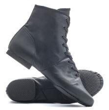 Black PU Rubber Split Sole Lace Up Jazz Dance Stage Practice Boot Shoes By Katz
