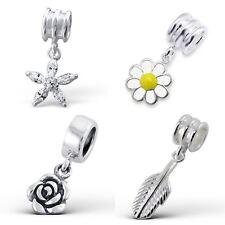 925 plata esterlina sólida encanto perlas Europeo Pulseras-Flores 2