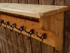 Handmade Reclaimed look solid wood Rustic Pine Hat&Coat Rack with shelf