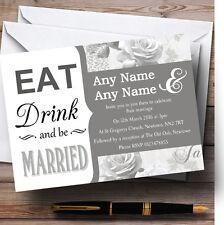 GRIGIO ARGENTO Mangiare Bere VINTAGE BIRDCAGE personalizzato wedding invitations