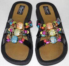 GRANDCO SANDALS Beach Pool SLIDE BLING Color Beads BLACK SLIDE Dressy Flip Flops