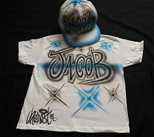 Urbanist custom graffiti Airbrushed Hip Hop Street Dance Snapback kids Cap & Tee