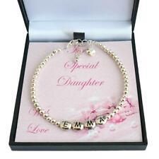 personalisiert Mädchen Armband mit Silber Perlen, Jedes Name Geschenkverpackung