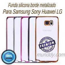 FUNDA SILICONA CROMADO Para Samsung Galaxy S7 ULTRASLIM BORDE EFECTO METALIZADO