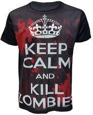 Keep Calm And Kill Zombies Sangriento Para Hombre Negro Sublimación Camiseta Nuevos Top Tee