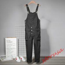 Mens Korean Loose Fit Cargo Overalls Casual Harem Pants Baggy Suspender Trousers