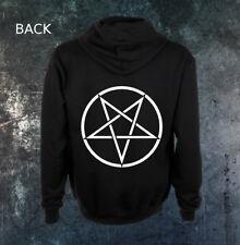 Inverted Pentacle Zip Hoodie Satanic Pentagram Baphomet Goat Mendes Cross Devil