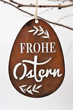 Edelrost Ostereier-Set,  Frohe Ostern zum hängen, 3er Set mit Pfiff