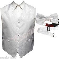 WHITE XS to 6XL Paisley Tuxedo Suit Dress Vest Waistcoat & Bow tie Wedding Prom