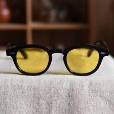 Small Johnny Depp sunglasses mens gloss black glasses yellow polarized lenses
