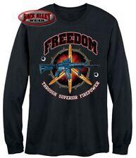 FREEDOM THRU SUPERIOR FIREPOWER ~ LONG SLEEVE T-Shirt Military TEE ~ AR-15 M16