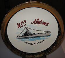 Vintage USS Alabama Navy Battleship Collector Plate Gold Trimmed