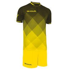 Givova kit shade completo muta calcio calcetto uomo nero giallo M L XL