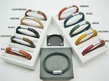 sterling silver 925 Barrel decor w/braided Italian leather bracelet men/women