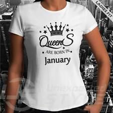 Reine Sont Né à Janvier T-Shirt Drôle Cadeau Anniversaire Unisexe Femmes Enfants