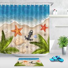 "Tropical Beach Ocean Sea Anchor - Bathroom Set Fabric Shower Curtain Hooks 72"""