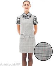 Relco Womens Prince of Wales Checked Pinafore Dress 60s Mod Skin Ska Skinbryd