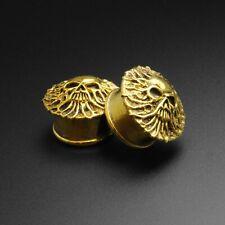 Brass Ear Gauges Plugs | Emerging Skull Brass Double Flare Plug | SIBJ Quality