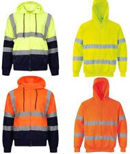 Mens Hi Vis Viz High Visibility Zip Up Fleece Hoodie Jacket Hooded Sweat Shirt