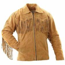 Western in Pelle Scamosciata indossare NATIVI AMERICANI Cowboy Frangia Giacca Cappotto Vintage