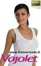 Canottiera donna Vajolet in misto lana a spalla larga con pizzo macramè art 6452