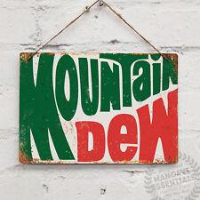 Mountain Dew Vintage Métal Mural Signe Rétro Pub Bar MANCAVE cuisine Soda Pop US...