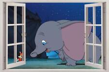 DUMBO Disney 3D Window View Decal Graphic WALL STICKER Art Mural Elephant H347