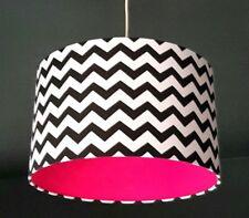 Handmade Black & White Chevron Fabric & Hot Pink Vinyl Lampshade