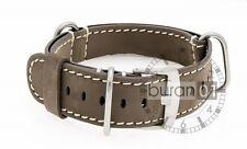 uhrenarmbänder-militär cinturino con passante vera pelle - Marrone/bianco 18 mm