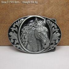 Cowboy Cowgirl Belt Buckle Metal Texas Country Vintage Ellipse Horse Head Gift