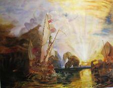 HUGE CANVAS DAVID ALDUS ORIGINAL NAVY TURNER  ULYSSES REPRODUCTION OIL PAINTING