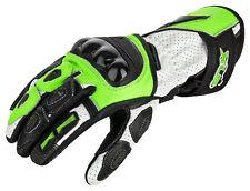 Moto Gants en cuir avec Protecteurs jaune fluo / vert blanc gr. S jusqu'à 2XL