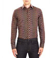 Guide London Mens Smart Shirt Wine Burgundy Blue Print Pattern LS73838 Slim Fit