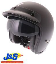 FRANK THOMAS DV37 OPEN FACE MOTORCYCLE HELMET MATT BLACK VISOR PEAK J&S