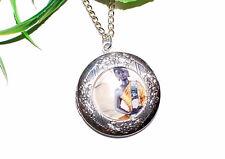 BUDDHA Medaillon Halskette +++ Buddhismus +++ Foto Anhänger chakra öffnen silber