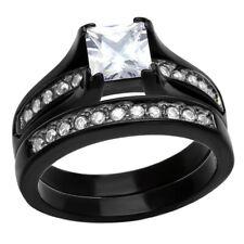 Stainless Steel Princess Cubic Zirconia Women Wedding Ring Set Gold Silver Black