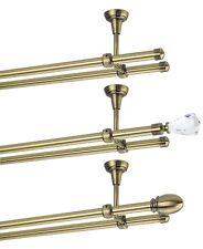 Gardinenstange mit Deckenmontage 16mm Zweiläufig Messing Antik 120-600 cm  1