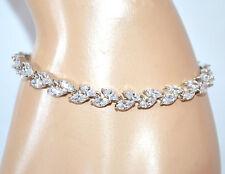 BRACCIALE tennis donna argento cristalli strass gocce bracelet bigiotteria A58