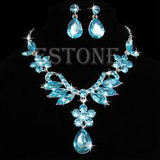 Bride Wedding Party Crystal Rhinestone Drop Necklace Earring Pendant Jewelry Set