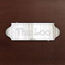 Le Loo Toilettes Porte Plaque Signalisation PERSONALISE nom/salle de bureau Acrylique Miroir