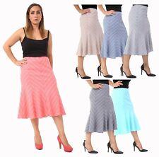 Women's Plus Size Elastic Waist Slanted Stripe Pattern Flared Swing Skirt 12-24